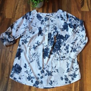 Soft Surroundings white and blue tunic top M
